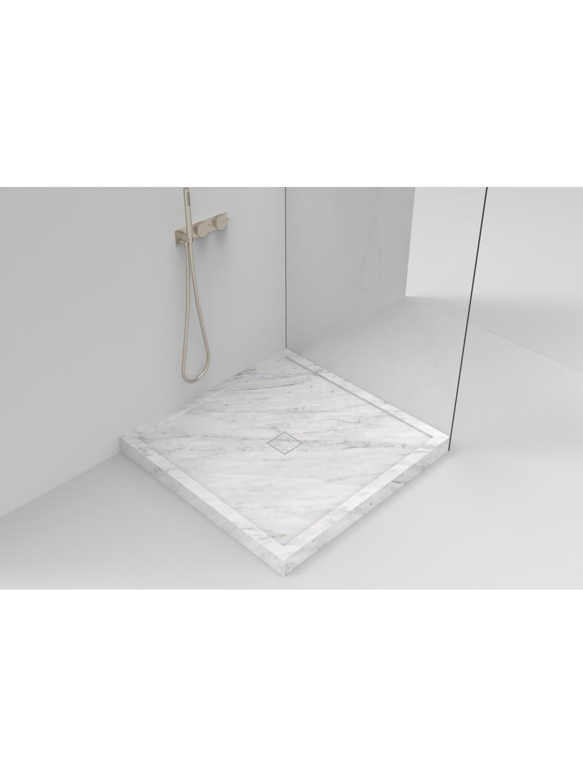 Piatto doccia scatolato  in Bianco di Carrara (piletta di marmo)